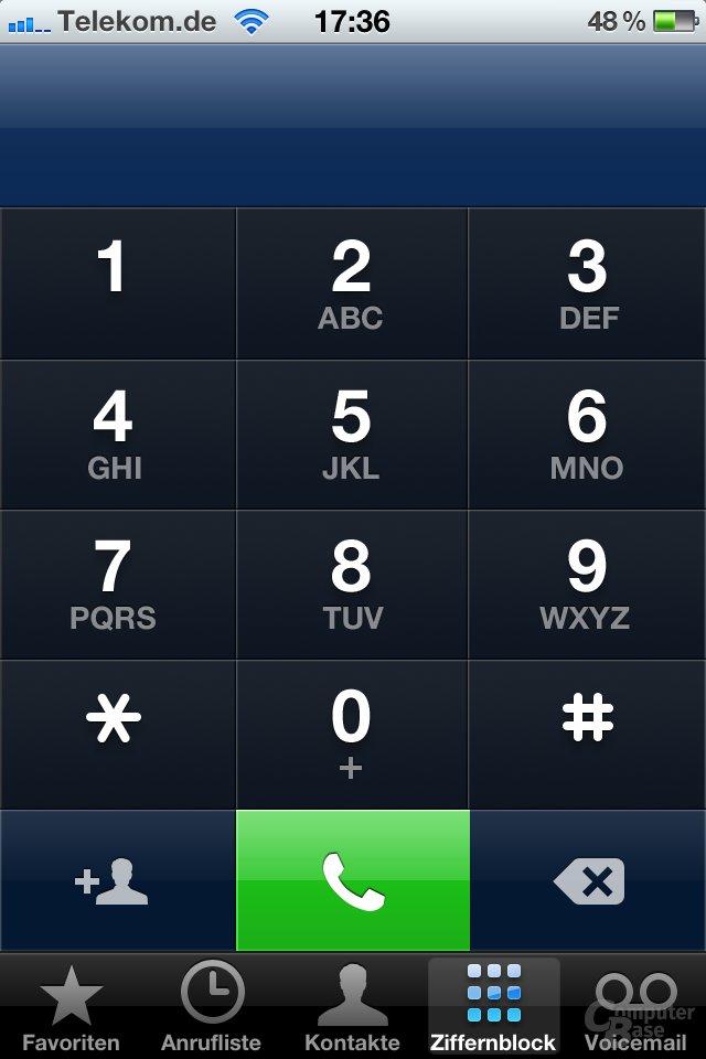 iOS 4.1: Telefon-Tastenfeld