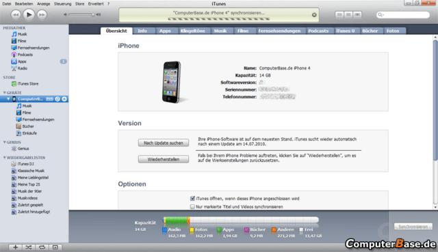iTunes synchronisiert das Gerät bei jeder Gelegenheit mit Outlook und Co