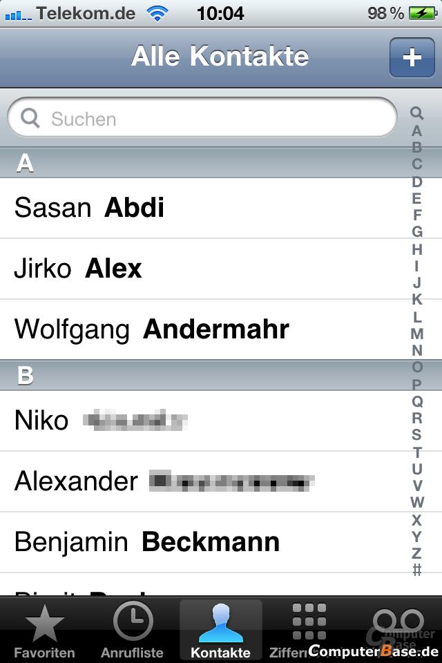 iOS 4.1: Adressbuch
