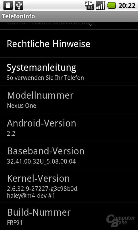 Systeminformationen nach dem Update (Froyo)