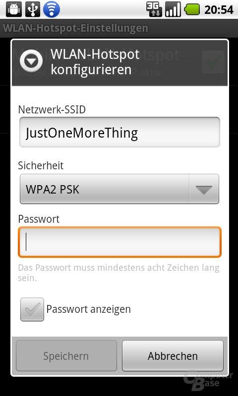 WiFi-Hotspot für Tethering einrichten