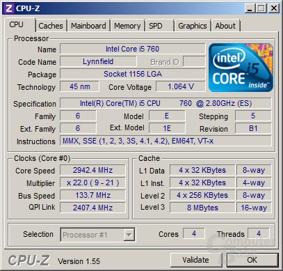 Intel Core i5-760 mit Turbo (3 und 4 Kerne)