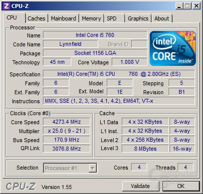 Intel Core i5-760 übertaktet (1 Kern)