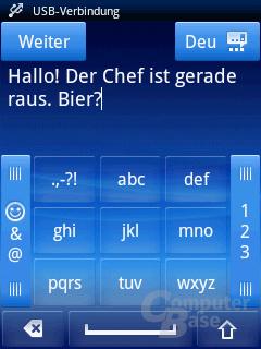 Xperia X10 mini: SMS-Eingabe, Tastaturfeld