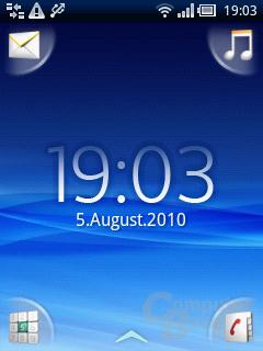 Xperia X10 mini: Android-Homescreen mit UX-Oberfläche