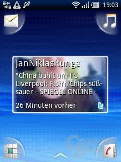 Xperia X10 mini: TimeScape-Widget