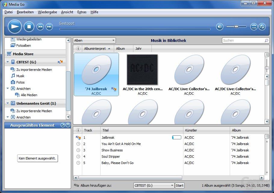 MediaGo-Software für Windows