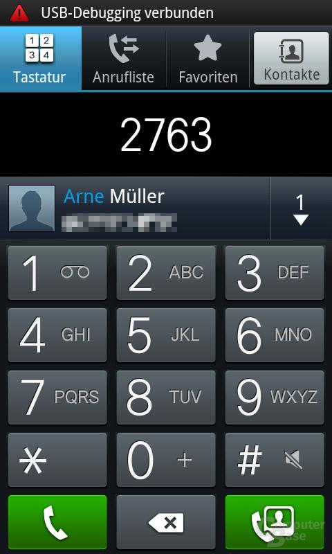 Samsung Galaxy S: Schnellwahl per Ziffernblock