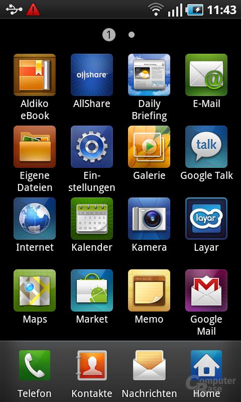 Samsung Galaxy S: App-Menü 1