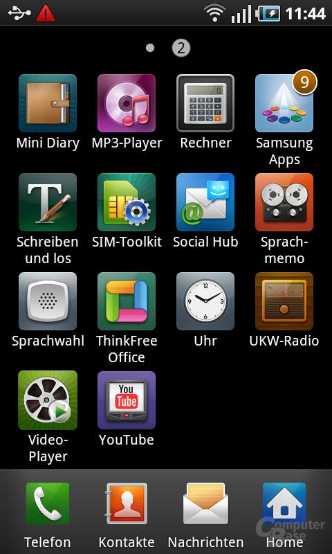 Samsung Galaxy S: App-Menü 2