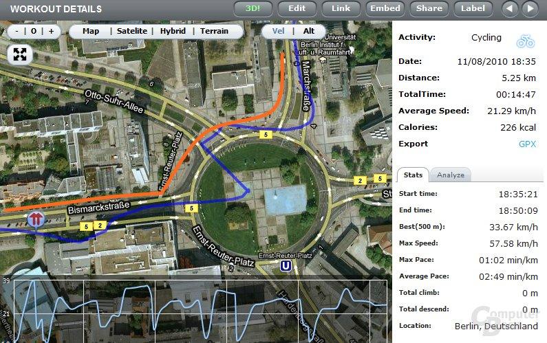 Samsung Galaxy S: Streckenabweichung per GPS