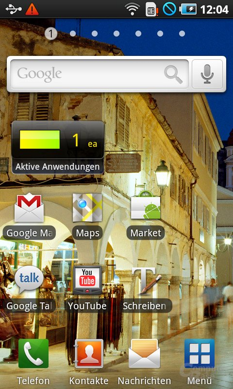 Home-Screen mit Task-Manager-Widget in Firmware JM1