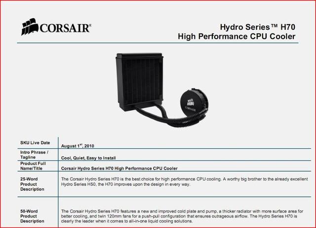 Flüssigkeits-CPU-Kühler Corsair H70