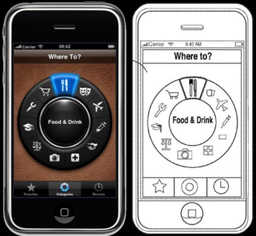 Orginal (links) und Patantantrag von Apple (rechts)