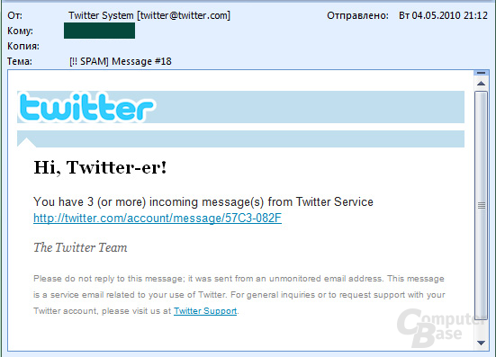 Beispiel für Spam-Mail mit Trojan-Downloader.JS.Pegel.g