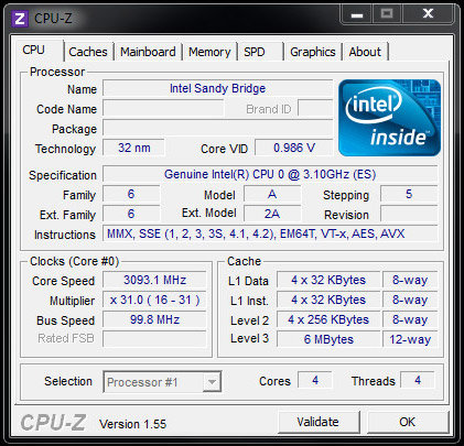 "Intels ""Sandy Bridge""-Prozessor als frühes Sample"