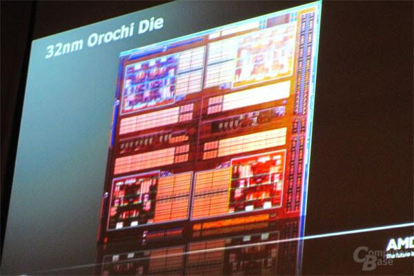 """""""Orochi"""" Die-Shot mit Bulldozer-Modulen"""
