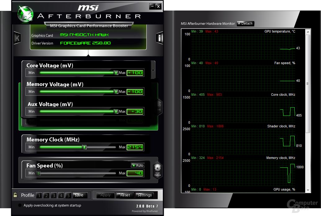 Afterburner auf der GeForce GTX 460 Hawk