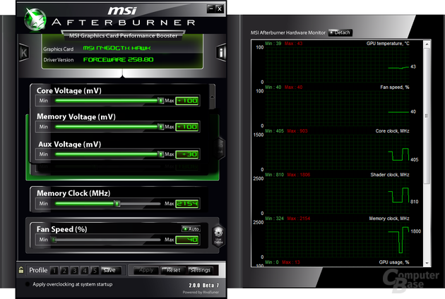 Afterburner auf der GeForce GTX 460 Hawk