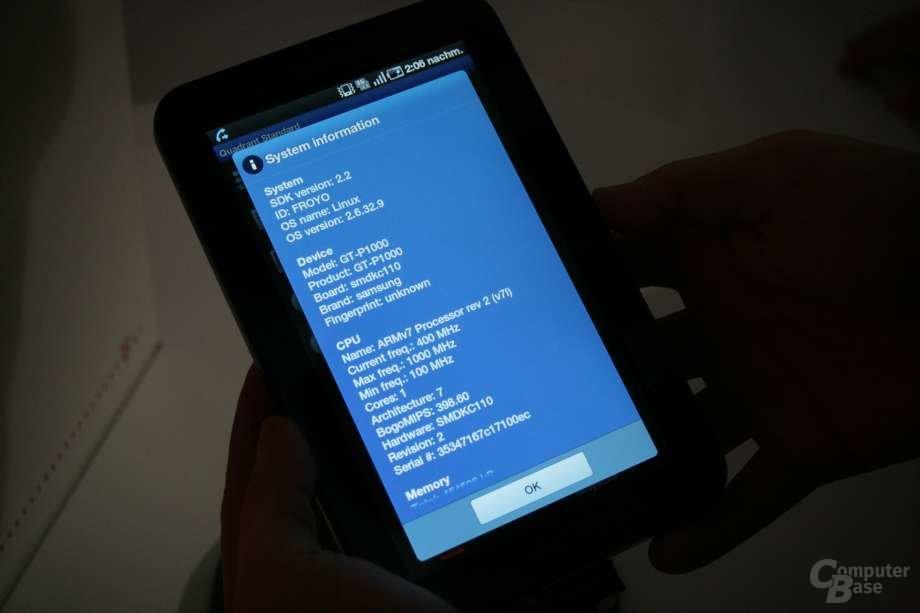 Samsung Galaxy Tab – Benchmark