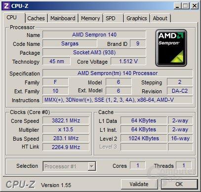 AMD Semrpon 140 bei 3,82 GHz