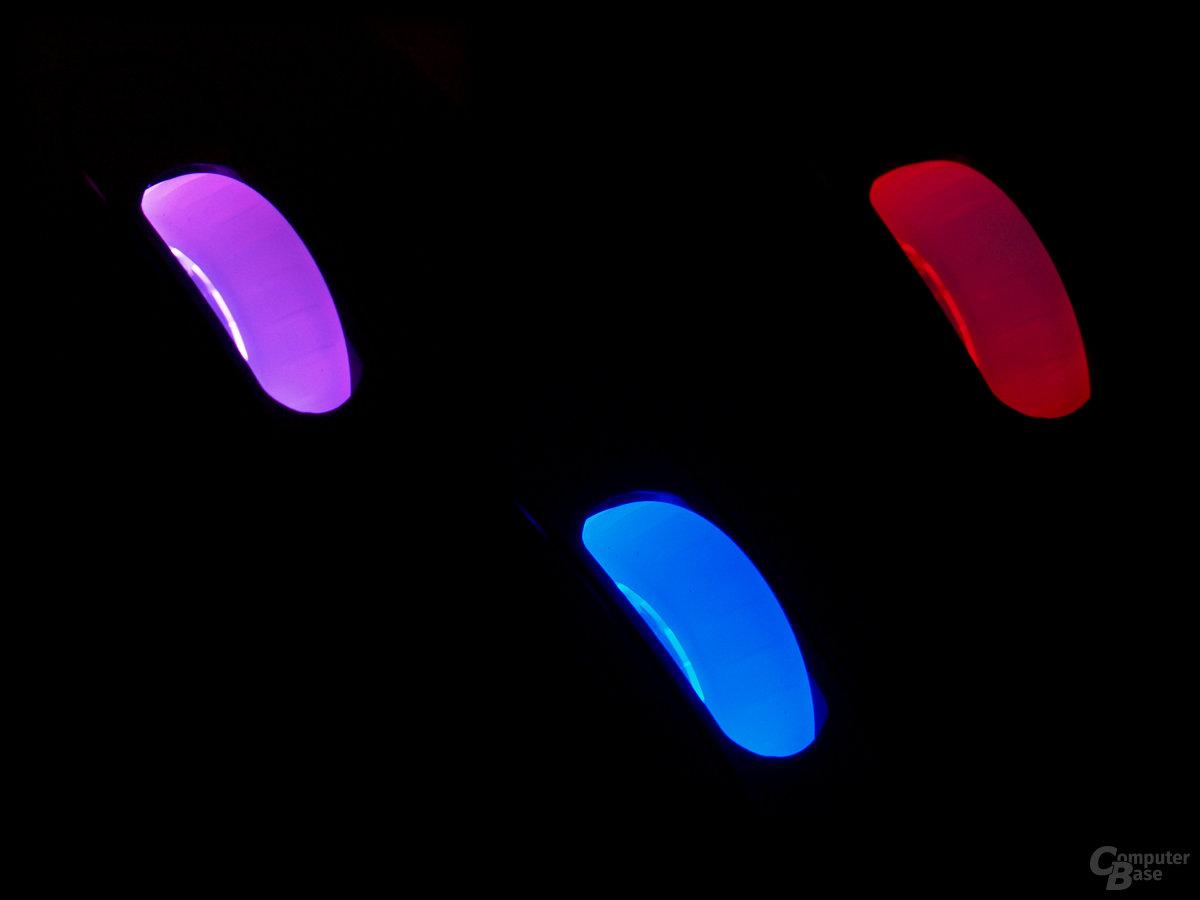 Radbeleuchtung zeigt dpi-Stufe an