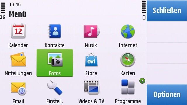 Nokia C6-00: Programm-Menü (Landscape-Modus)