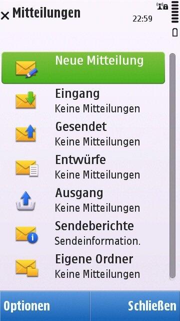 Nokia C6-00: Mitteilungs-Menü