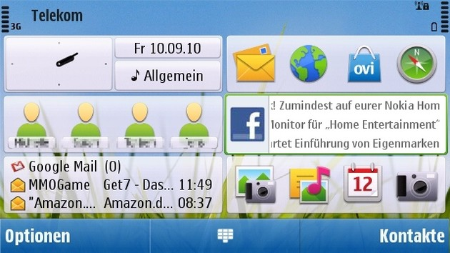 Nokia C6-00: Homescreen (Landscape-Modus)