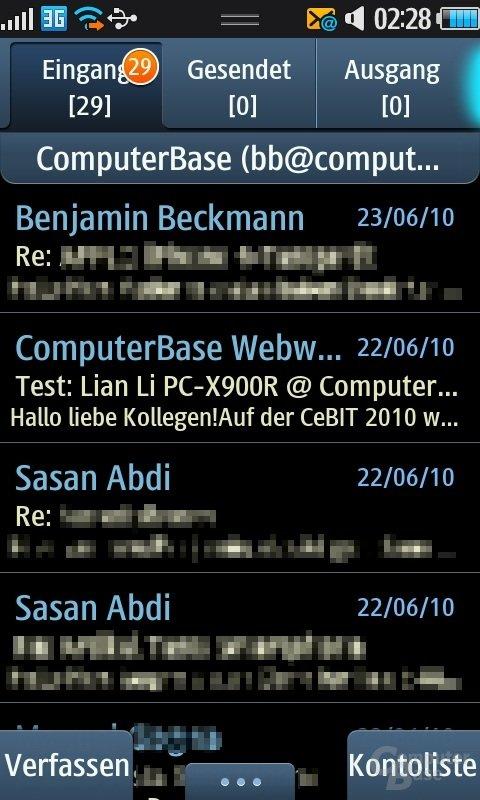 Bada OS: E-Mail-Eingang