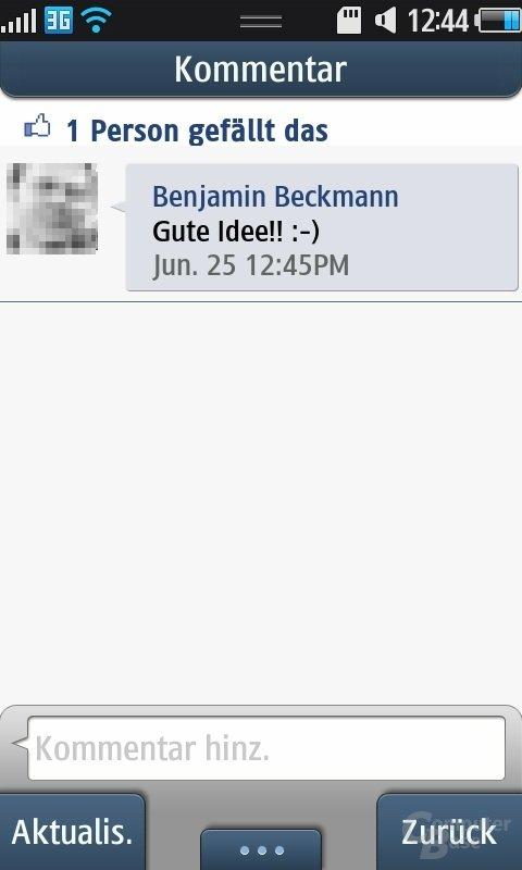 Bada OS: Facebook-Client
