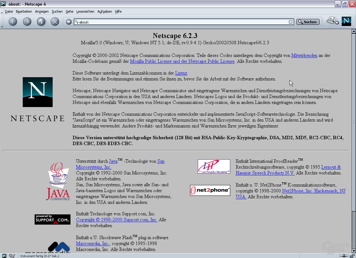 Netscape 6.2.3 basiert weiterhin auf Mozilla 0.94