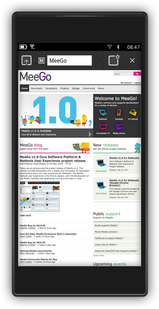 MeeGo Handset Project Day 1: Browser
