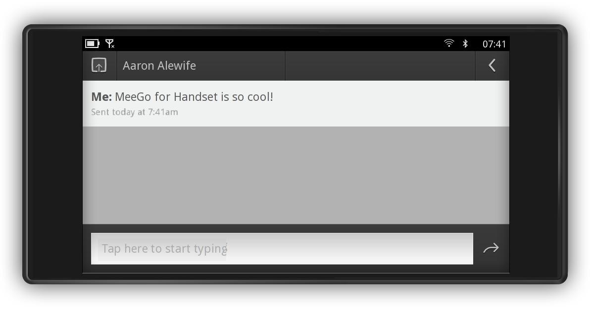 MeeGo Handset Project Day 1: SMS (Landscape-Modus)