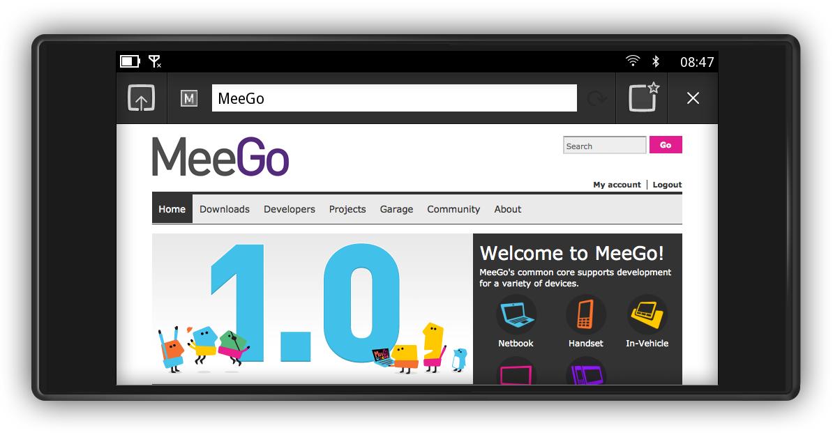 MeeGo Handset Project Day 1: Browser (Landscape-Modus)