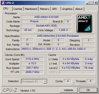 AMD Athlon II X4 645 mit geringerer Spannung