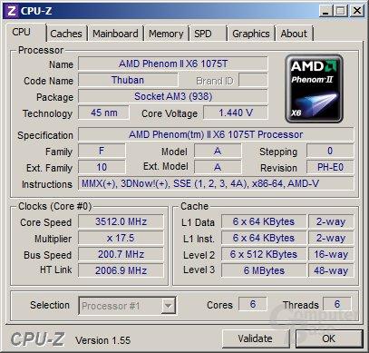 AMD Phenom II X6 1075T im Turbo für drei Kerne
