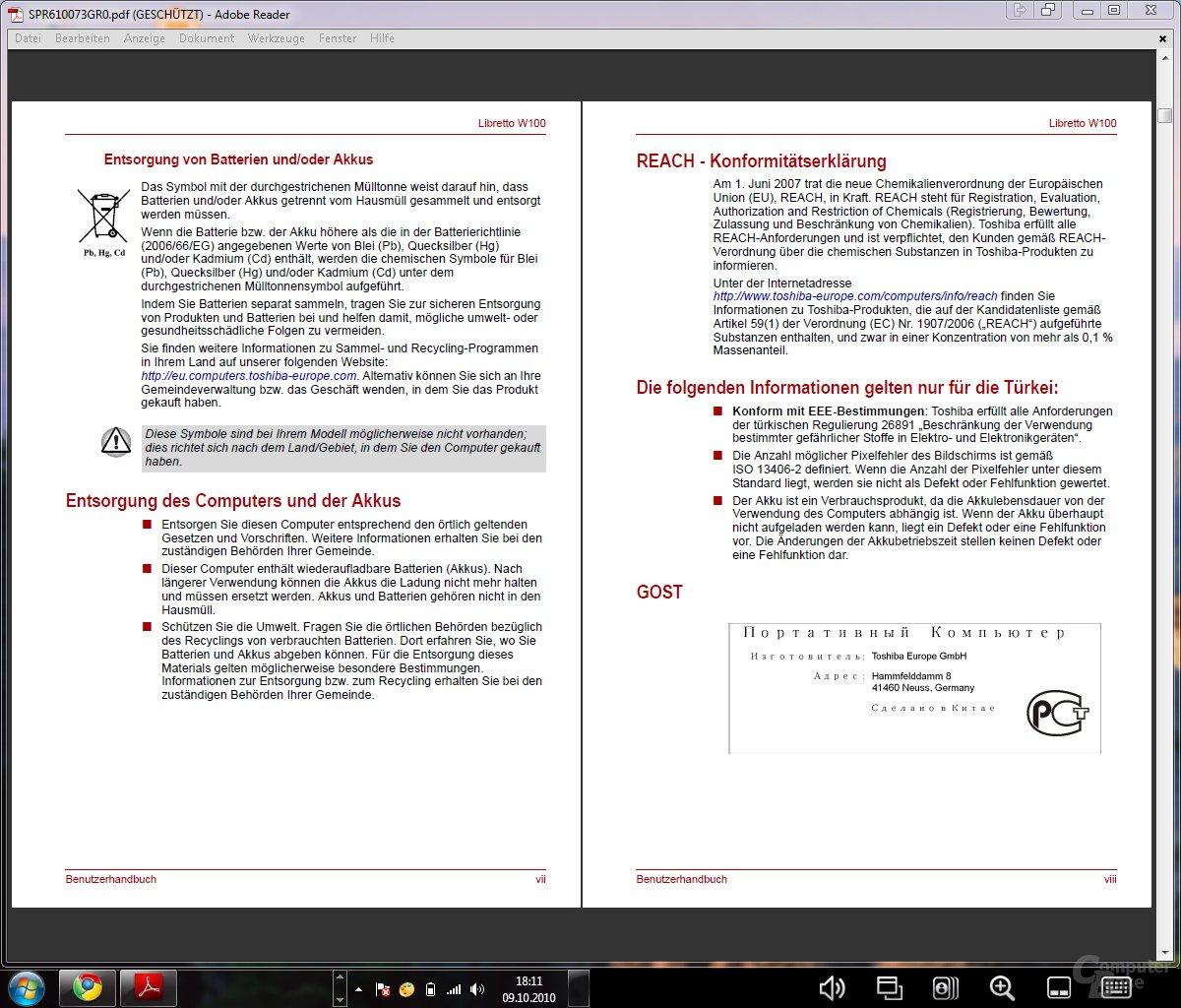 PDF-Ansicht (beide Displays)