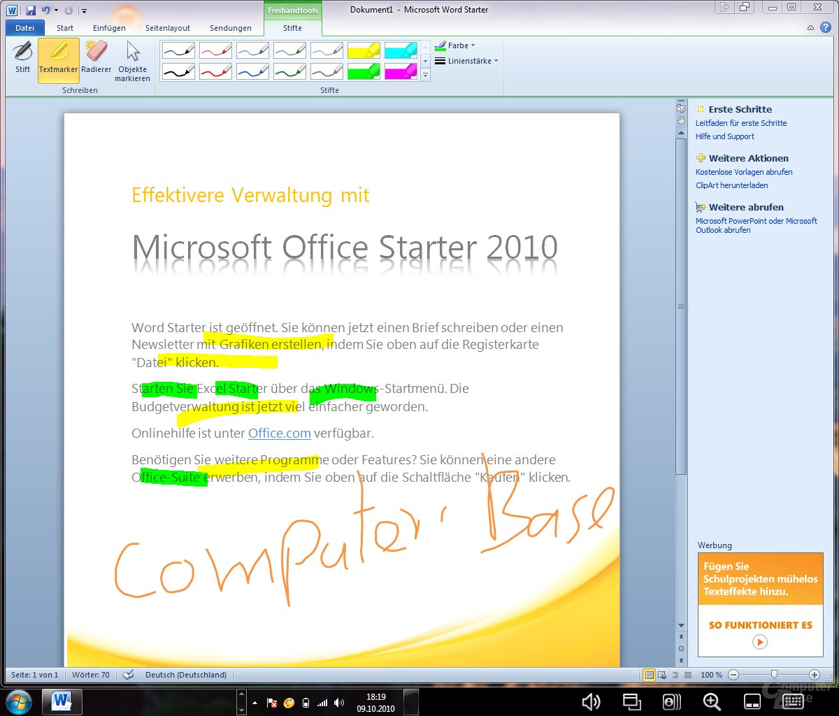 Office 2010 (beide Displays)