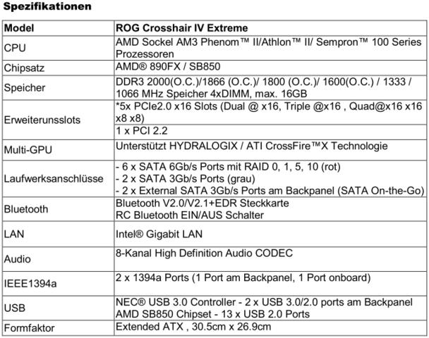 ASUS Crosshair IV Extreme – Spezifikationen