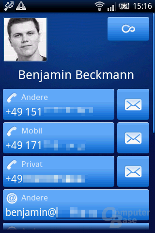 Xperia X8: Kontaktdetails