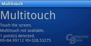 Kein Multi-Touch: Trotz zweier Finger auf dem Bildschirm nur ein erkannter Punkt