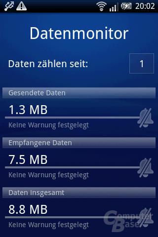 Xperia X8: Datenmonitor