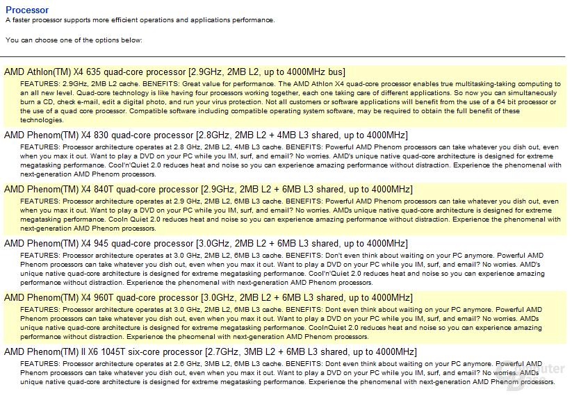HP-Auswahl an Prozessoren