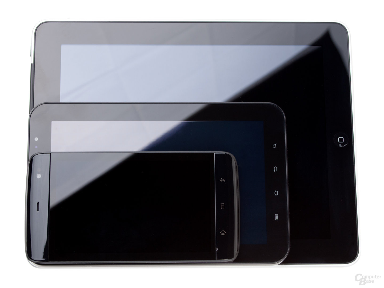 Größenvergleich iPad, Galaxy Tab, Dell Streak