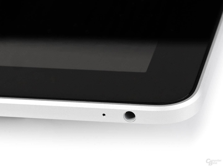 iPad: Ecke mit Audioausgang (Ausschnitt)
