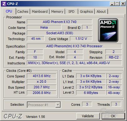 AMD Phenom II X3 740 bei 4,0 GHz
