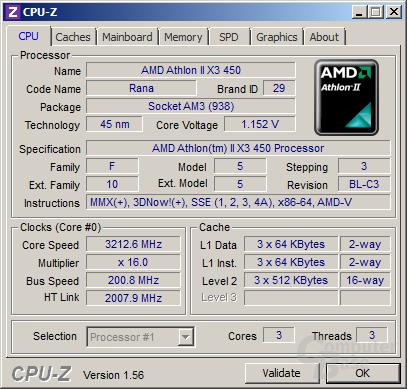 AMD Athlon II X3 450 undervoltet