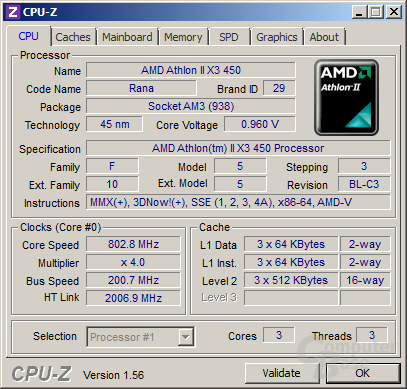 AMD Athlon II X3 450 im Idle