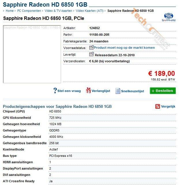 Sapphire Radeon HD 6850 in Online-Shop